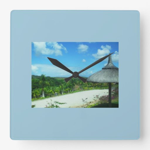 Square Clock With Beautiful Beach Theme
