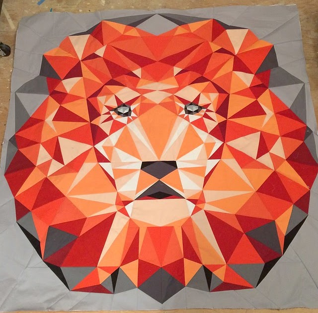 She Can Quilt A Lion Update Paper Piecing A 60 Quot Square