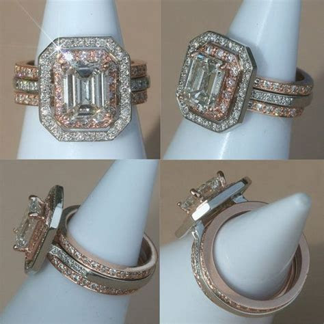 Rose Gold and Platinum Engagement Ring, Emerald Cut