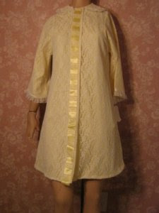 Philmaid Vintage All Lace Robe Yellow Satin Lining Lace Ribbons XS petite NWT