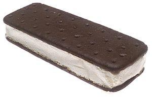 a single vanilla ice cream sandwich