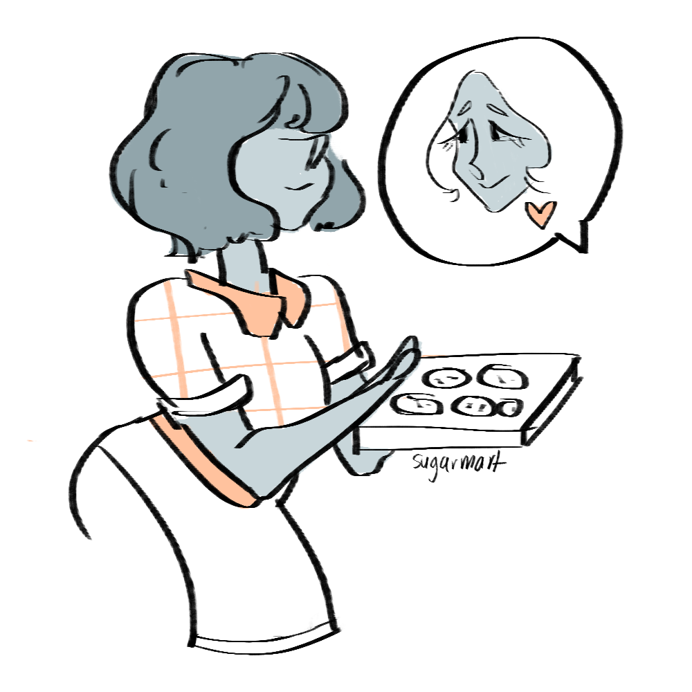i havent watched the new stevenbomb but heres a little doodle of blue pearl making cookies for blue diamond