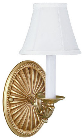 French Gold One Light Wall Sconce With Shade - traditional - wall ...
