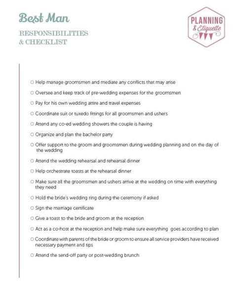 Printable Wedding Party Duties Checklist   mywedding