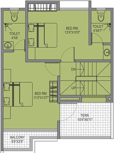 Leela Greens B Type 3 BHK Row House 1st Floor
