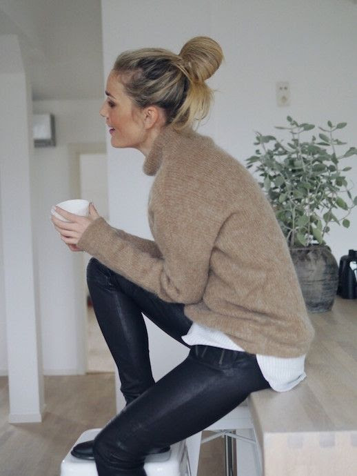 Le Fashion Blog Messy Bun Camel Mohair Turtleneck Sweater Striped Button Down Layer Coated Leather Pants Ankle Boots Blogger Style Via Camilla Pihl