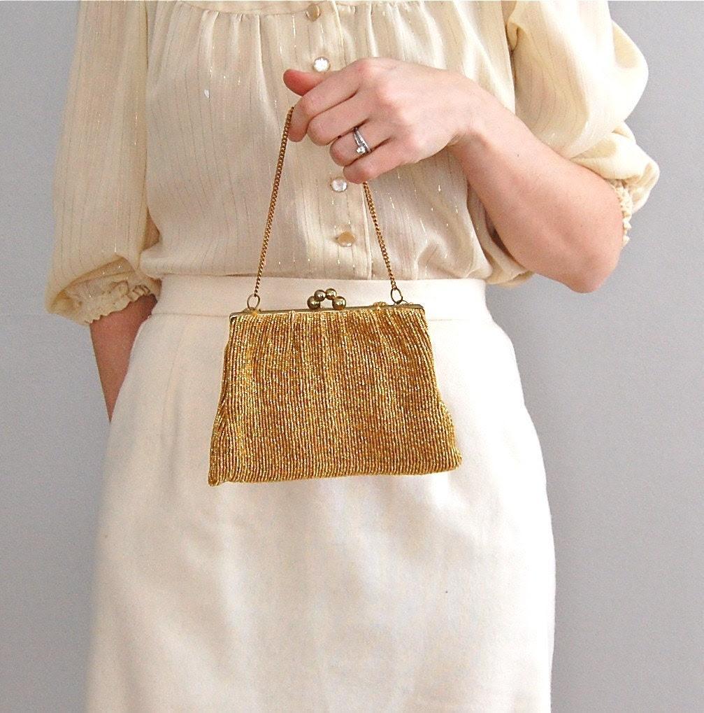 vintage 1940s BRILLIANTINE metallic opera bag
