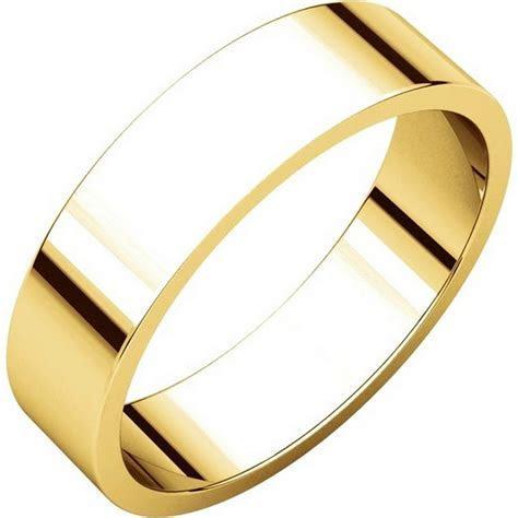 N012505E 18K Yellow Gold 5mm Wide Flat Plain Wedding Band