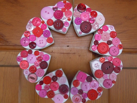 Wooden Heart button wreath