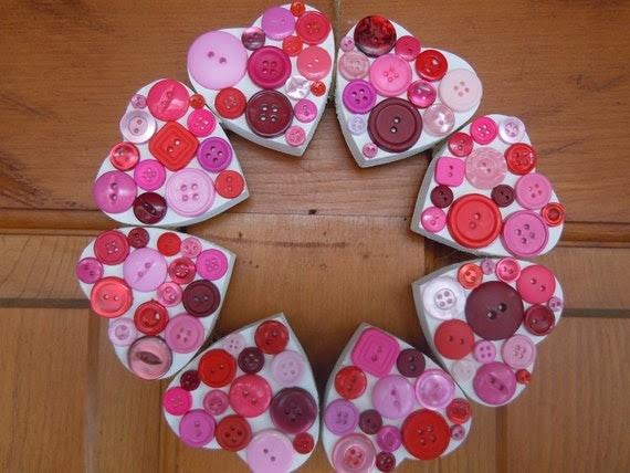 Wooden Heart button wreath