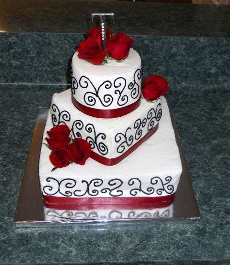 The Happy Caker: White, Black and Red Wedding Cake