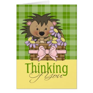 Cute Hedgehog, Thinking Of  You Greeting Card