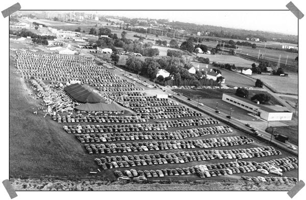 Crowded tent revival at the old airport