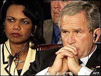El presidente de EE.UU., George W. Bush,  y la secretaria de estado, Condoleezza Rice.