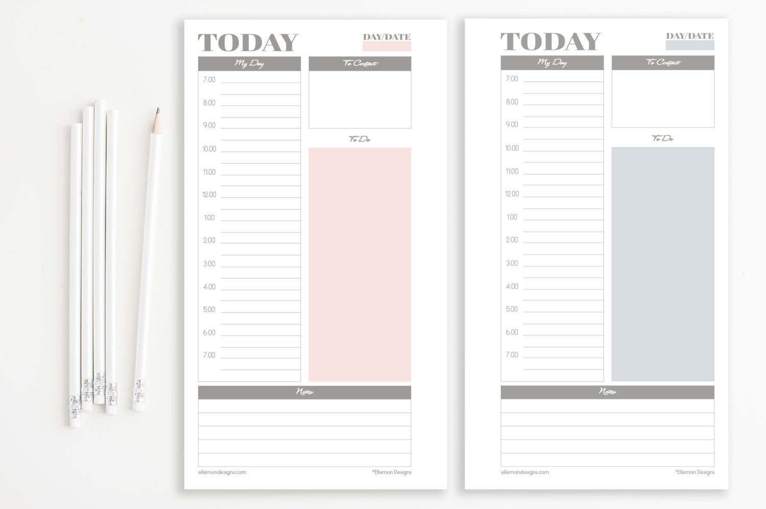 Two Filofax PERSONAL Daily Planners Printable by EllemonDesigns