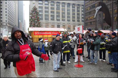 Helping the Bell Ringer at Daley Plaza