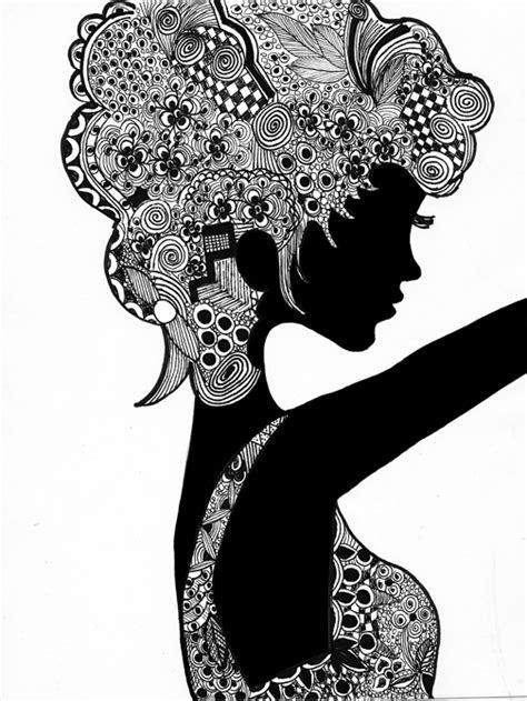 doodle girl tanngled hair faces masks pinterest