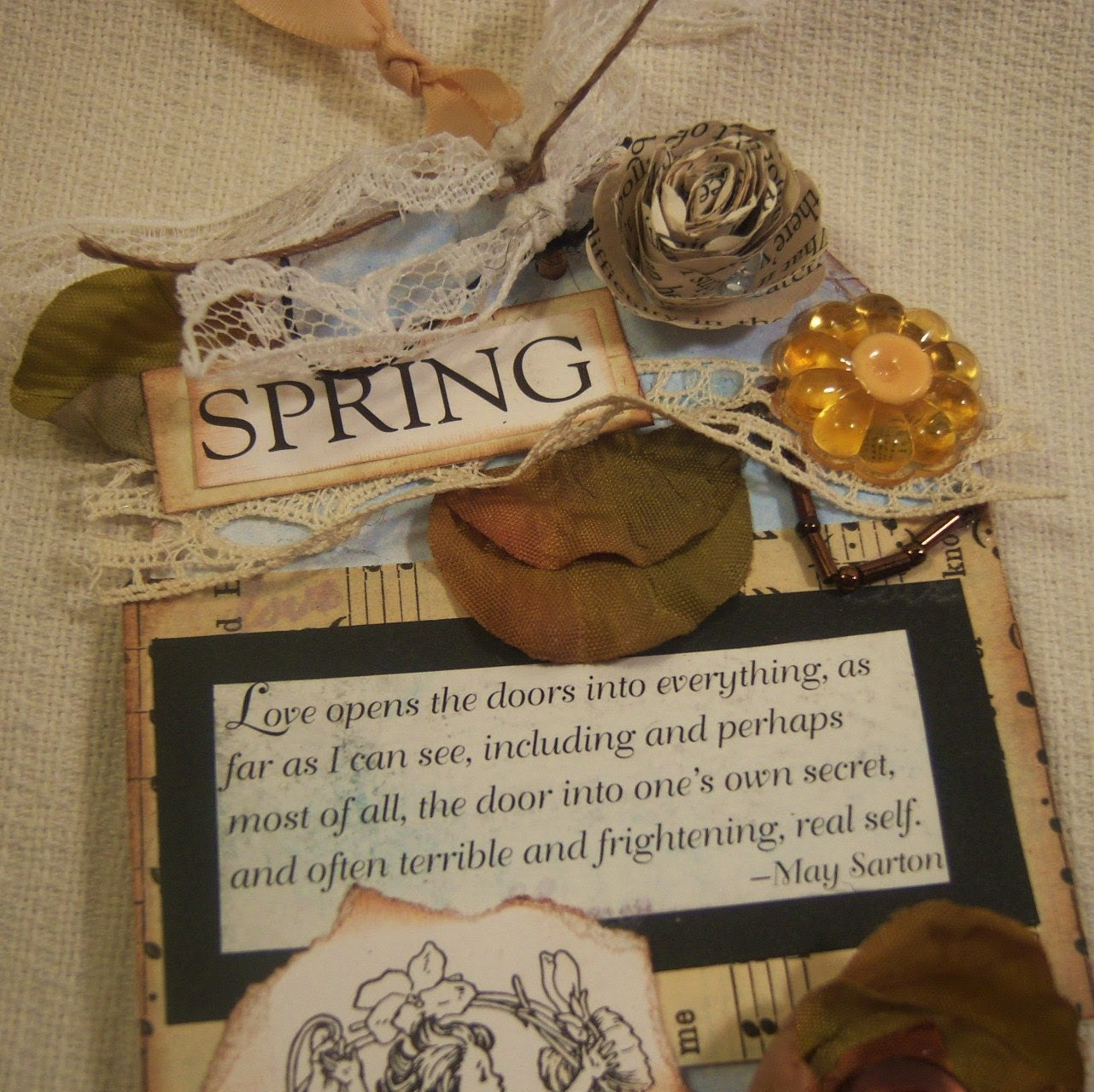 Sewn Shabby Vintage Hang Tag Spring Fairies Lace Details Embellishments