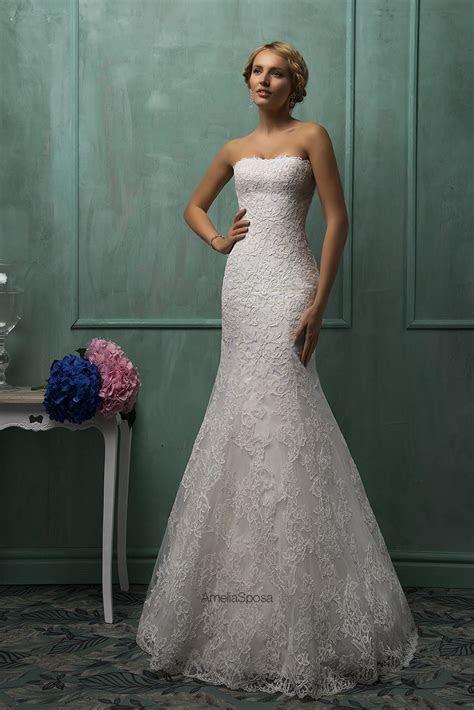 Elegant Strapless Sleeveless Lace Mermaid Wedding Dress