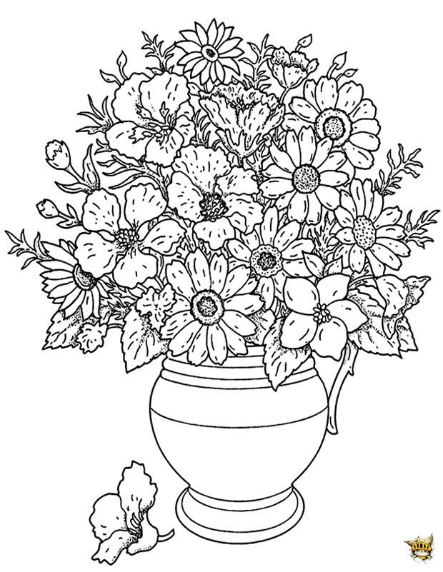 Coloriage Pot De Fleurs Pour Adultes