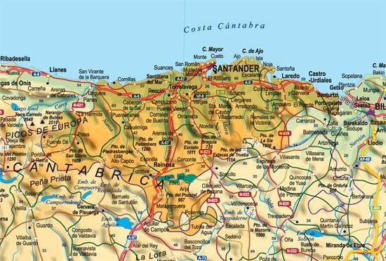 Mapa De Cantabria I Asturias