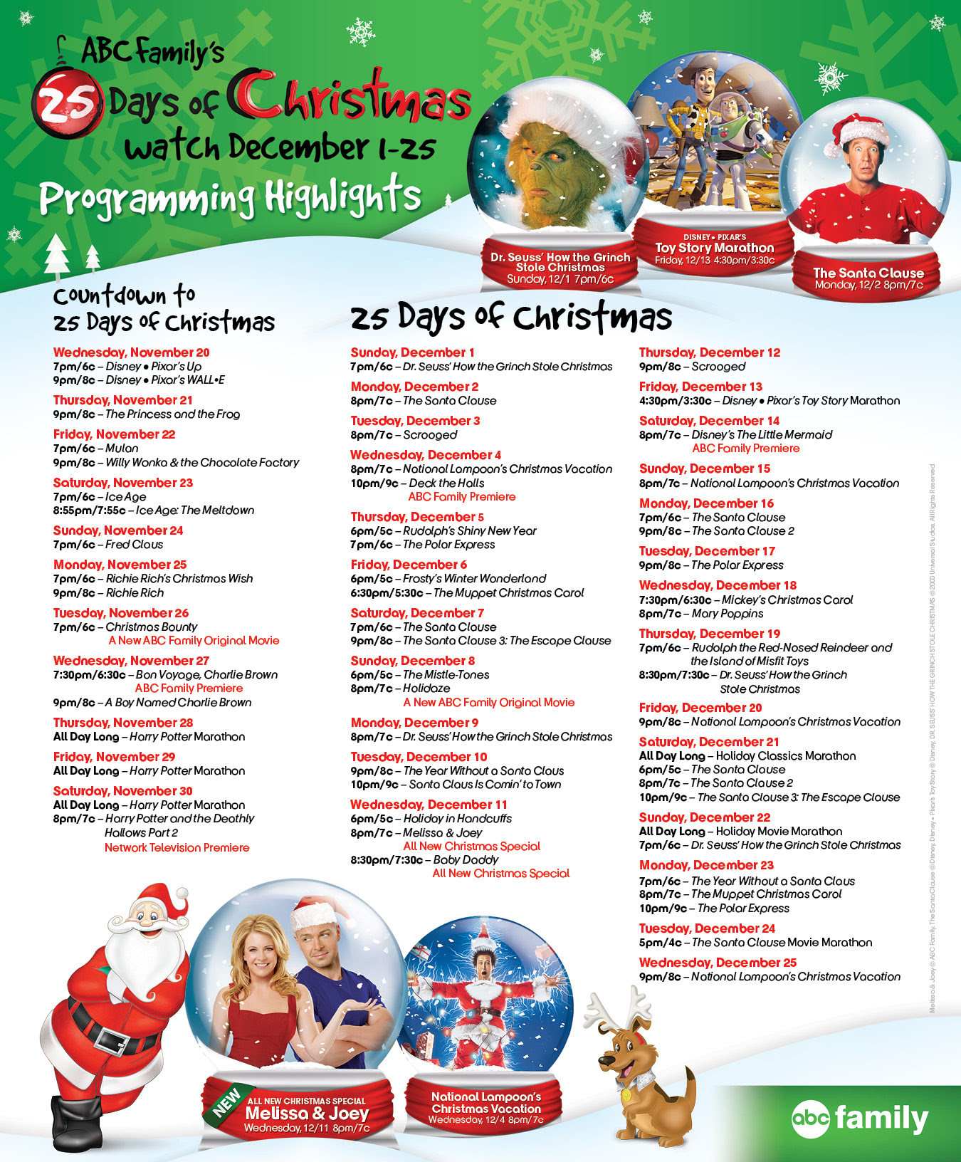 25 days of Christmas schedule on 6ABC