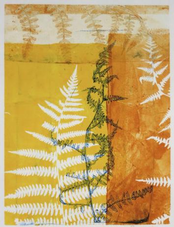 gelatin print made with found stencils