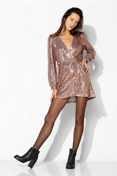 urban outfitters gold honey punch sequin surplice dress product 4 15084060 678365265_large_flex