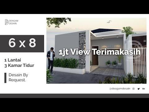 populer desain rumah 6x8 m 3 kamar tidur, video potongan
