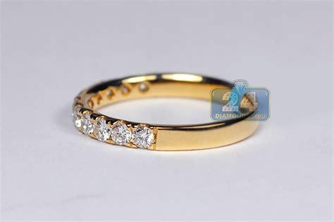 Womens Diamond Wedding Band Ring 18K Yellow Gold 0.58ct 2.3 mm