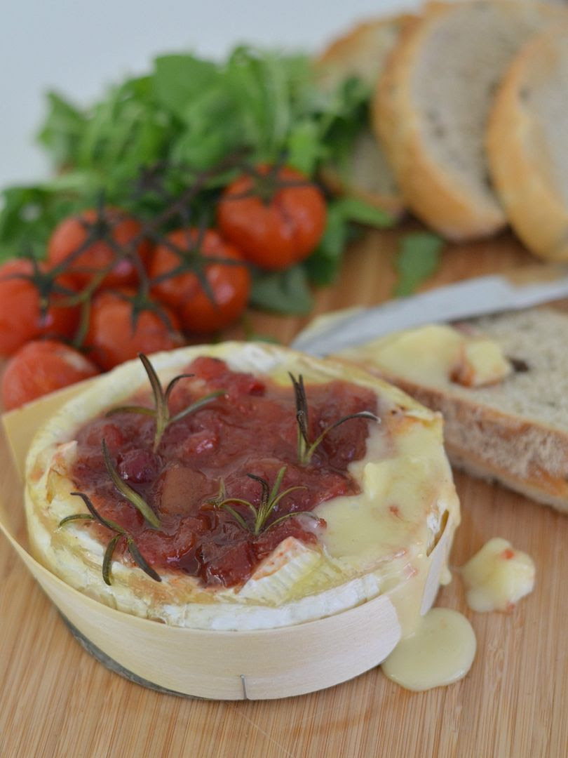 Baked Camembert with Spicy Cranberry & Rhubarb Chutney