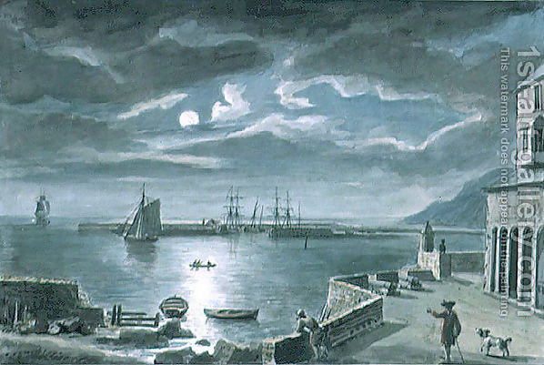 File:The-Harbour-And-The-Cobb,-Lyme-Regis,-Dorset,-By-Moonlight.jpg