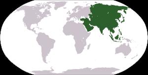 Deutsch: Weltkarte mit Fokus auf Asien English...