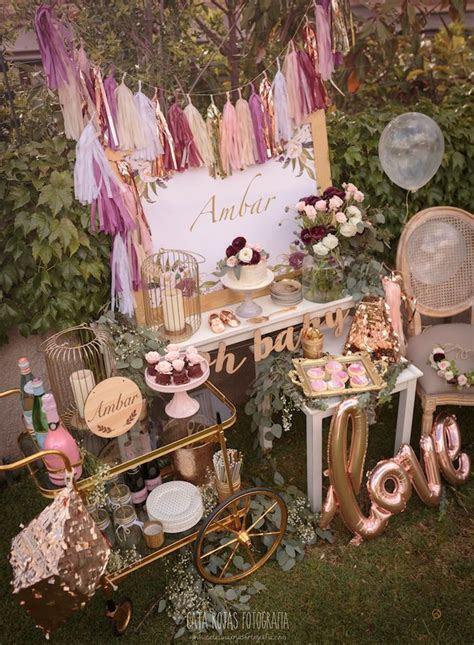 Kara's Party Ideas Burgundy, Blush & Gold Boho Baby Shower