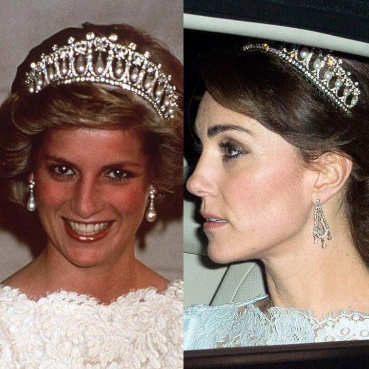 L'8 novembre, la duchessa è stato visto arrivando a Buckingham Palace per un ricevimento diplomatico sfoggia una tiara di proprietà della principessa Diana.  Il 'amante nodo tiara' stato dato a Diana come dono di nozze nel 1981, ed è composto da diamanti e perle incrostati.  E 'solo la quarta volta che la duchessa ha indossato un diadema da sposa nella famiglia reale;  non si sa se è stato dato il diadema o semplicemente preso in prestito