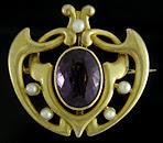 Bippart, Griscom Art Nouveau amethyst and pearl brooch. (J9071)