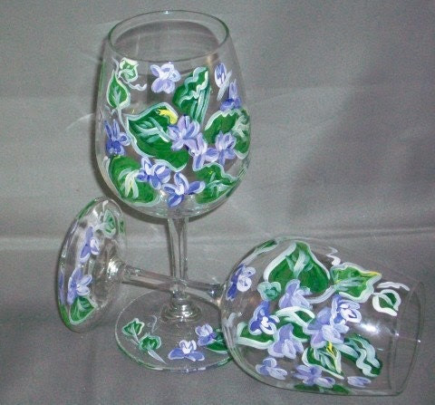 FLoral hand painted wine glasses JUST REDUCED WAS 20 NOW 15  SALE SALE SALE