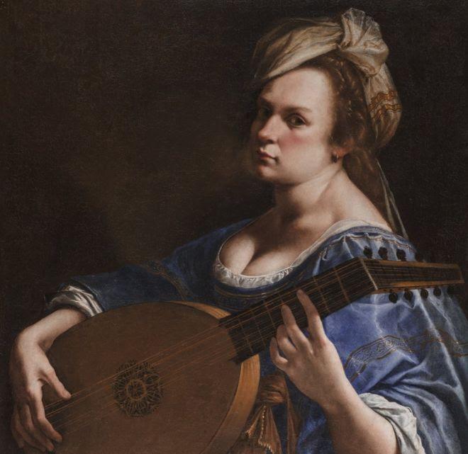 """Autoritratto come suonatrice di liuto"" (Tañedora de Laúd), de Artemisia Gentileschi. 1617-18 ca. Óleo sobre lienzo, 65.5 x 50.2 cm."