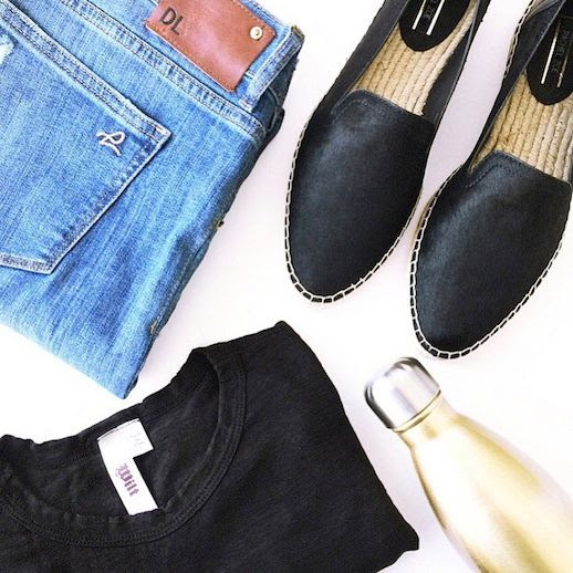 Le Fashion Blog Instagram DL1961 Jeans Rachel Zoe Espadrille Flats Wilt Black Tee Champagne Swell Water Bottle