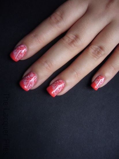 Barry M Limited Edition Coral with Konad Imageplate M60