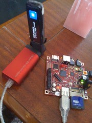 #beagleboard making friends with new 3G modem, first outing