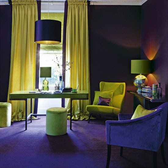 Purple and gold home office | Home office colours | Feature walls | Housetohome