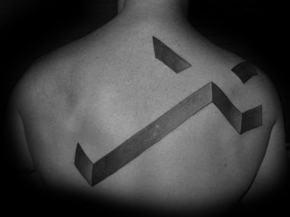 Mens 3d Cross Tattoo On Upper Back With Simple Design