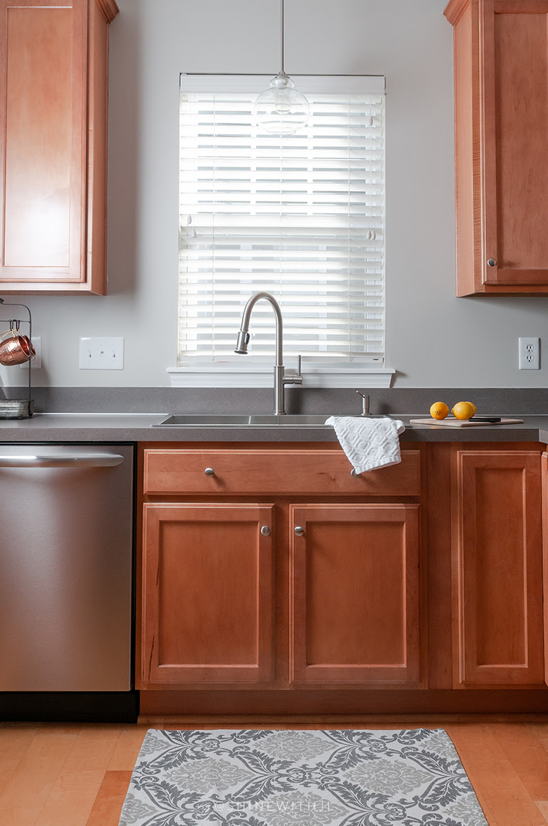 Traditional Kitchen Brown Cabinets Grey Countertop Stainless Steel Sink Shinewithjl Shinewithjl