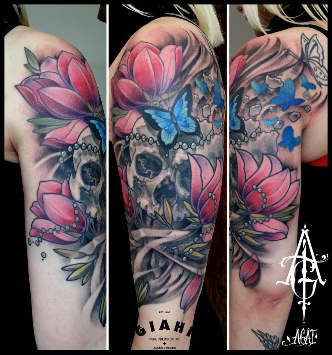 Cracked Butterfly Flowers Skull Tattoo By Agat Artemji Best Tattoo