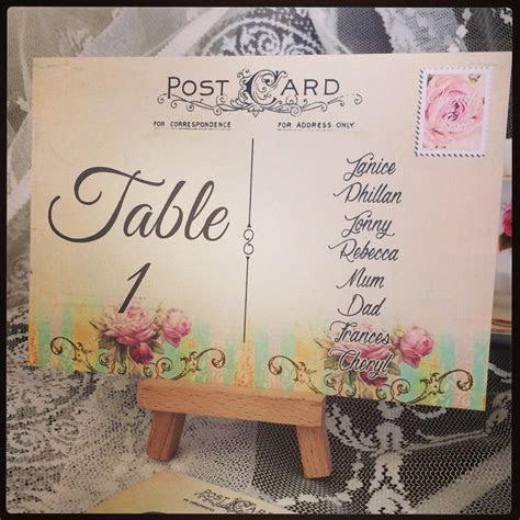 POSTCARD TABLE NUMBERS   VINTAGE STYLE DIY TABLE PLAN