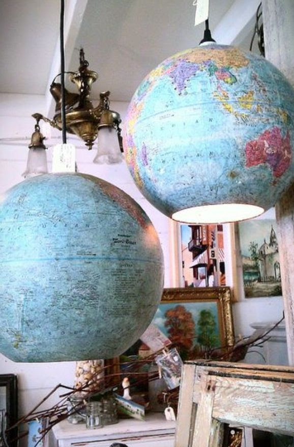 Using globes as lights in the office