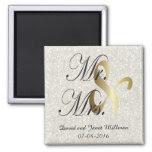 Bride & Groom | Mr & Mrs Wedding Keepsake 2 Inch Square Magnet