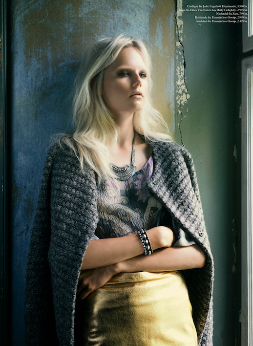 LE FASHION BLOG EDITORIAL EUROWOMAN MAGAZINE BOUCLE TWEED KNIT JACKET HEARTMADE CARDIGAN OVER SHOULDERS DRIES VAN NOTEN FLORAL PAISLEY PRINT TOP METALLIC GOLD SKIRT DANNIJO FOR GOSSIP NECKLACE AND BRACELET BLEACH BLONDE HAIR BLEACHED EYEBROWS NATURAL NUDE BEAUTY I En Villa In A Villa November 2013 Photographer: Katrine Rohrberg Stylist: Gertrud Maria Bønnelykke Hair: Søren Bach Make-up: Trine Skjøth  Model: Josefine Nielsen 1 photo LEFASHIONBLOGEDITORIALEUROWOMANMAGAZINEGOLDSKIRT1.png
