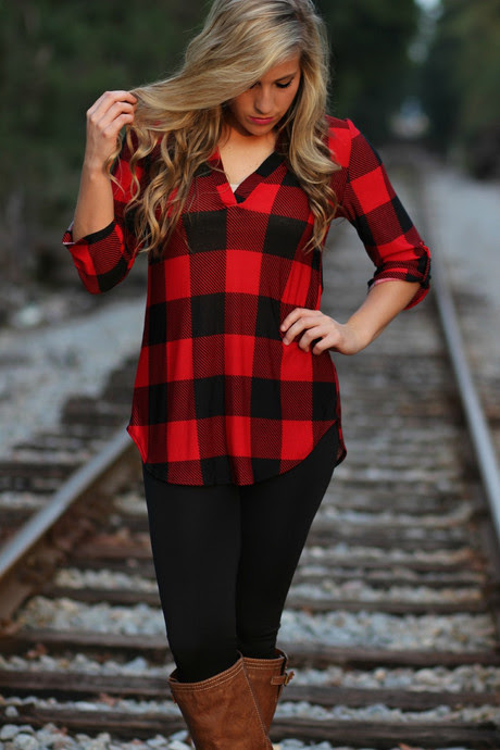 backroad plaid top blackred  lavish boutique